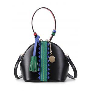 Color Block Tassel Mini Crossbody Bag - Black