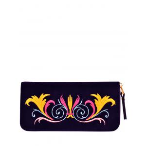 Embroidered Velvet Zip Around Wallet