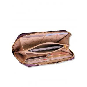 Brodé Velvet Zip Around Wallet - Pourpre