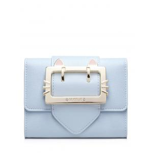 Tri Fold Buckle Strap Small Wallet - Light Blue - 39