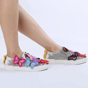 Round Toe Butterfly Slip On Sneakers - Gray - 37