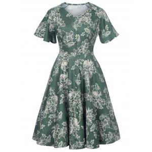 Button Up Floral Vintage Dress