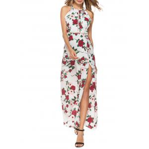 Maxi Back Cut Out Split Floral Dress