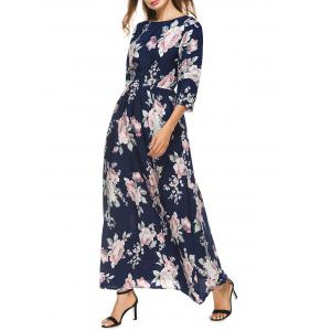High Waist Floral Maxi Dress with Sleeve - Colormix - L