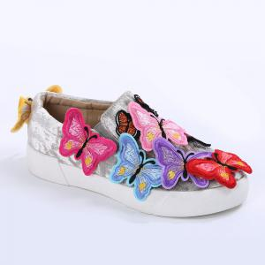 Round Toe Butterfly Slip On Sneakers - GRAY 40