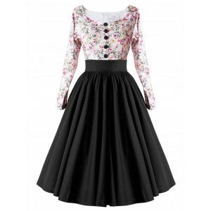 High Waist Button Floral Vintage Dress