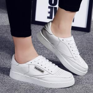 Faux Leather Low Top Sneakers - White - 40