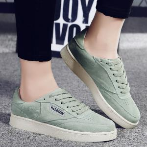Faux Leather Low Top Sneakers - Green - 38