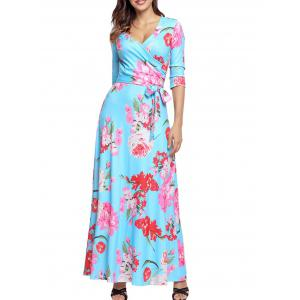 Floral Belted Floor Length Dress