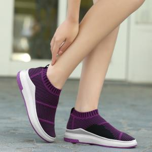 Breathable Striped Athletic Shoes - Purple - 38