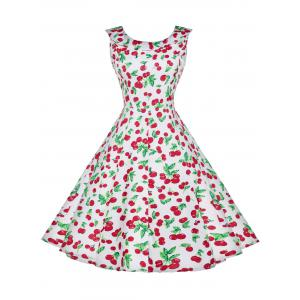 Cherry Print High Waist Vintage Dress