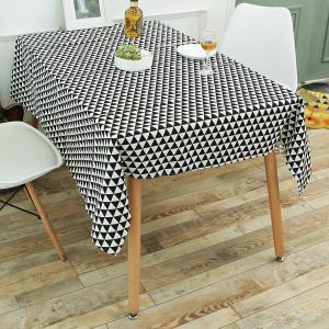 Geometry Print Linen Kitchen Dining Decor Tablecloth