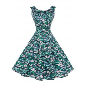 Floral Leaf Printed Vintage Dress - Colormix - 2xl