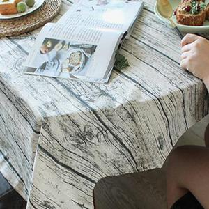 Wood Grain Print Linen Table Cloth for Dining -
