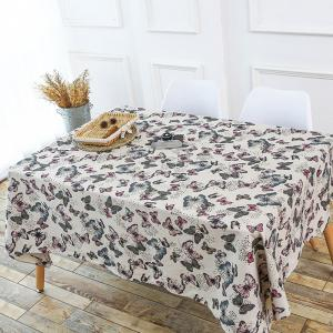 Butterfly Printed Linen Kitchen Table Cloth - Colorful - W55 Inch * L78 Inch