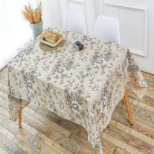 Vintage Floral Print Linen Table Cloth for Kitchen - Gray - W55 Inch * L78 Inch