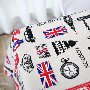 British Style Printed Linen Table Cloth for Kitchen -
