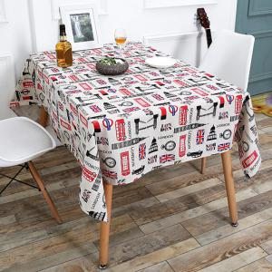 British Style Printed Linen Table Cloth for Kitchen - Colorful - W55 Inch * L78 Inch