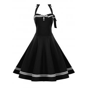 Button Embellished Plus Size Halter Retro Pin Up Dress