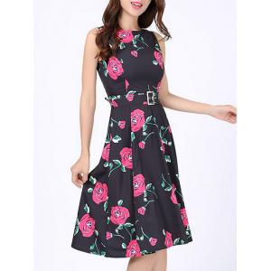 Floral Print Party Swing Dress