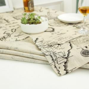 Kitchen Product World Map Print Linen Table Cloth -