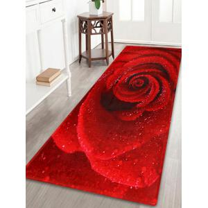 Anti Slip Coral Velvet Rose Flower Bath Rug - Red - W24 Inch * L71 Inch