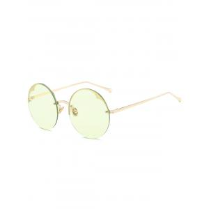 Round Metallic Semi-rimless Sunglasses - Light Green