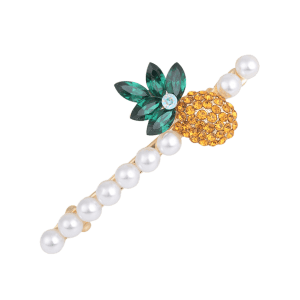 1 Pcs Rhinestone Inlaid Pineapple Hair Clip - Pearl White