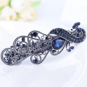 Rhinestone Retro Peacock Shape Barrette - Blue