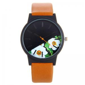 Faux Leather Strap Flower Face Quartz Watch - Brown
