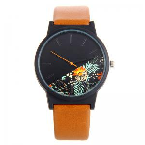 Faux Leather Strap Quartz Watch With Floral Face