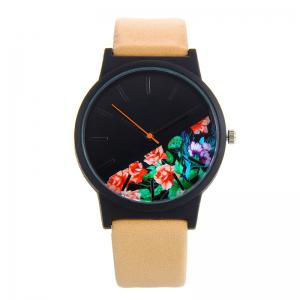 Flower Face Faux Leather Strap Quartz Watch