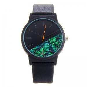 Tropical Leaf Face Faux Leather Strap Watch - Black - 3xl