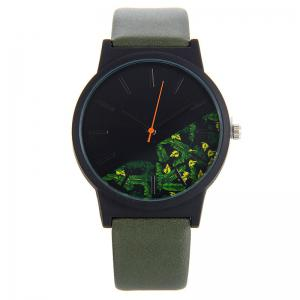 Floral Face Faux Leather Strap Quartz Watch - Army Green