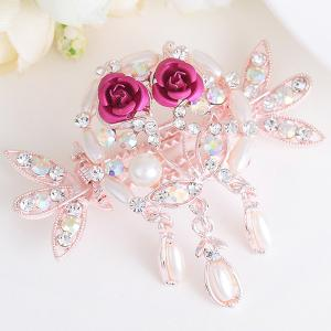 Rhinestone Inlay Tiny Rose Embellished Hairgrip