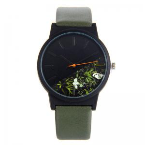 Flower Face Faux Leather Band Quartz Watch