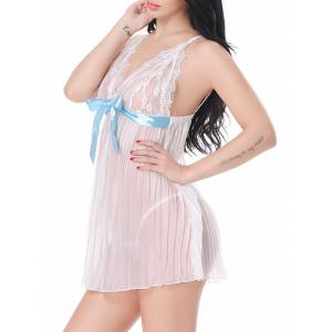 Lace Sheer Cami Lingerie Dress - Blanc M
