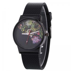 Succulents Flower Face Canvas Strap Quartz Watch