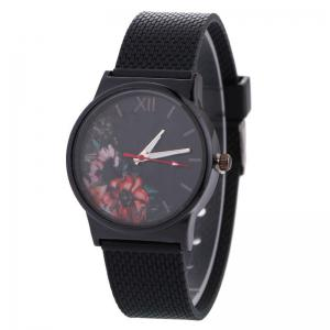 Floral Face Canvas Strap Quartz Watch