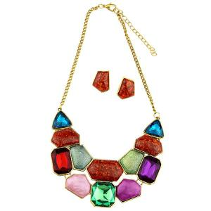 Boho Faux Gemstone Statement Necklace and Earrings