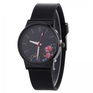 Canvas Strap Quartz Watch With Flower Face