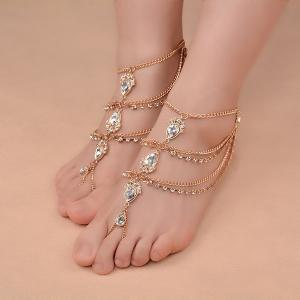 1PC Faux Gemstone Teardrop Fringed Slave Anklet -