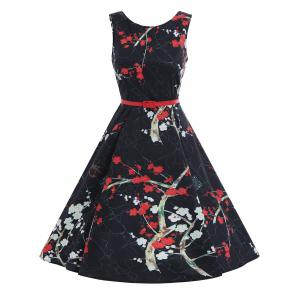 Print Plum Flower A Line Vintage Dress