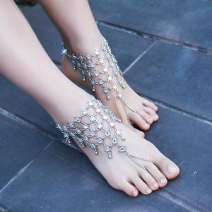 1PC Rhinestoned Chinese Knot Slave Anklet -