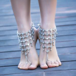 1PC Rhinestoned Chinese Knot Slave Anklet