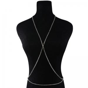 Rhinestone X Shaped Body Chain - Silver