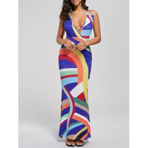 Plunging Neck High Waist Striped Mermaid Maxi Dress - Colormix - Xl