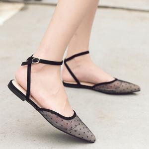 Polka Dot Mesh Point Toe Flats - Black - 39