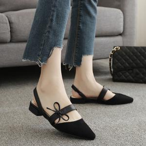 Bowknot Slingback Mary Jane Suede Flat - Black - 40
