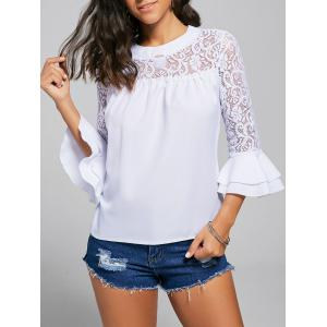 Lace Trim Crew Neck Bell Sleeve Top